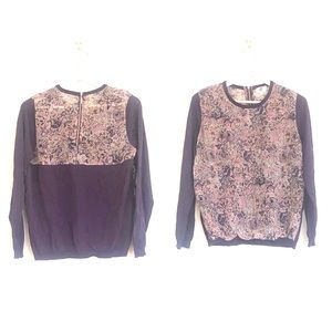 YAL New York Floral Colorblock Zip Back Blouse